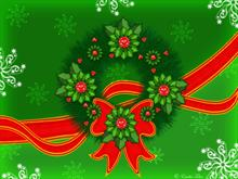 Christmas wreath on green background