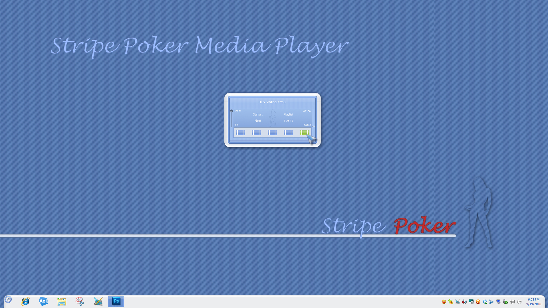 Stripe Poker Media Player Gadget