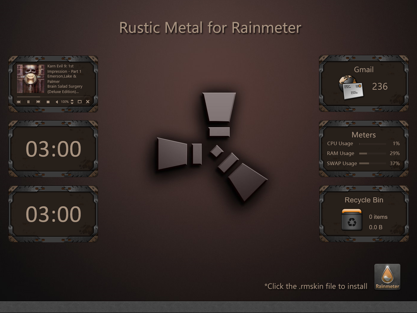 Rustic Metal Rainmeter